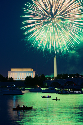 Green fire over the Potomac