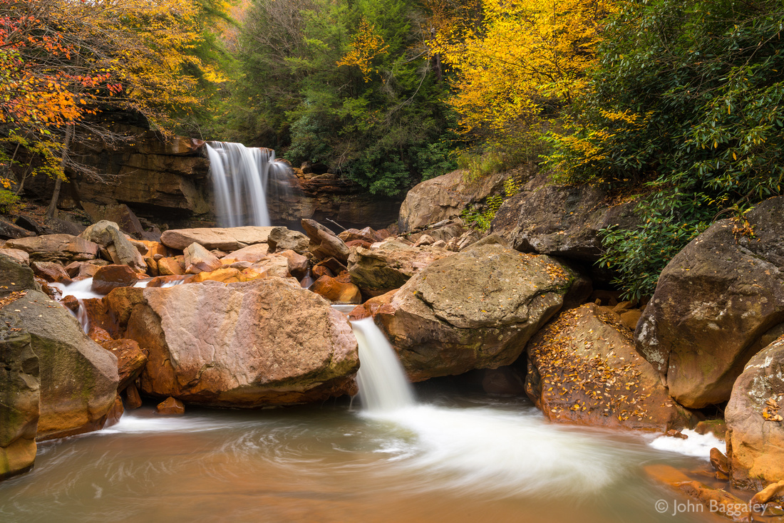 Photo by John Baggaley of Douglas Falls, West Virginia, in autumn.