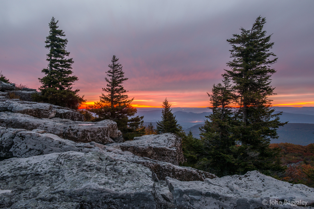 Photo by John Baggaley of a sunrise at Bear Rocks Preserve in the Dolly Sods wilderness area in West Virginia.