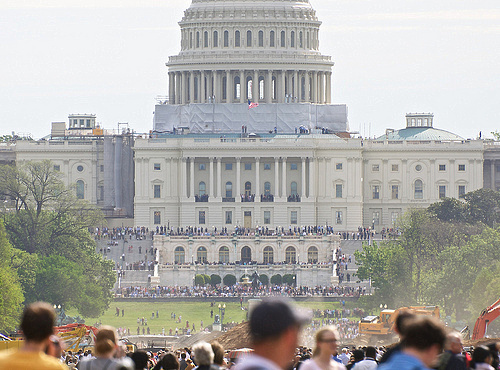 Crowds at the Capitol waiting for a fly-by of the Space Shuttle Discovery