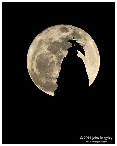 The Statue of Freedom and the Super Moon