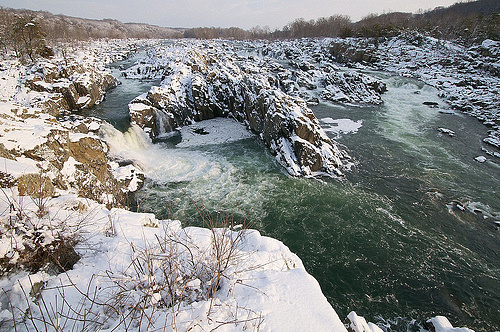 Sunrise at Great Falls after a snowstorm