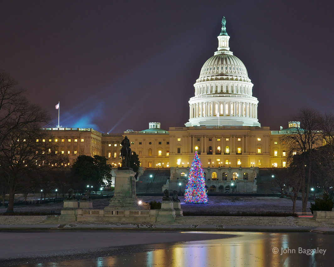 Fine art photo by John Baggaley of the annual Capitol Christmas Tree in front of the US Capitol.