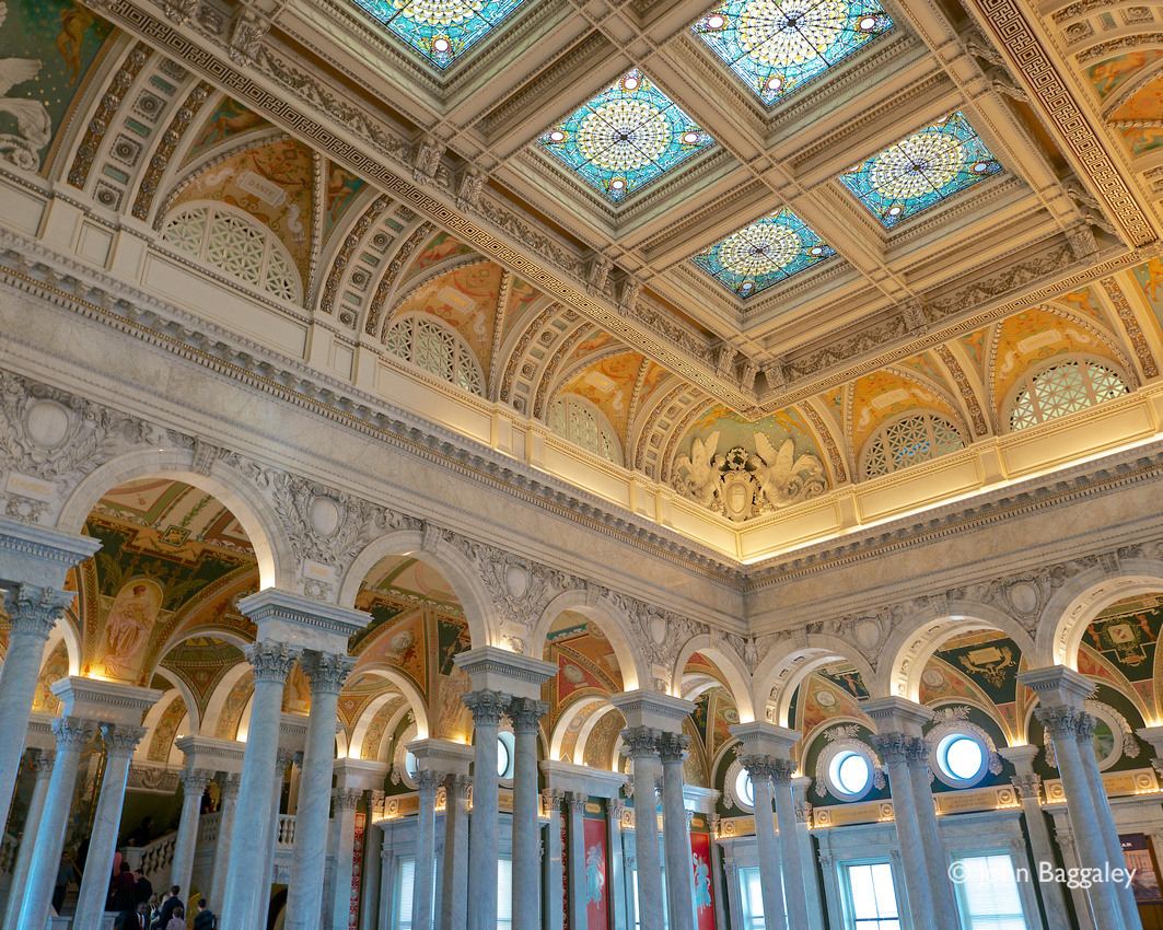 The ceiling over the Great Hall in the Thomas Jefferson Building of the Library of Congress.