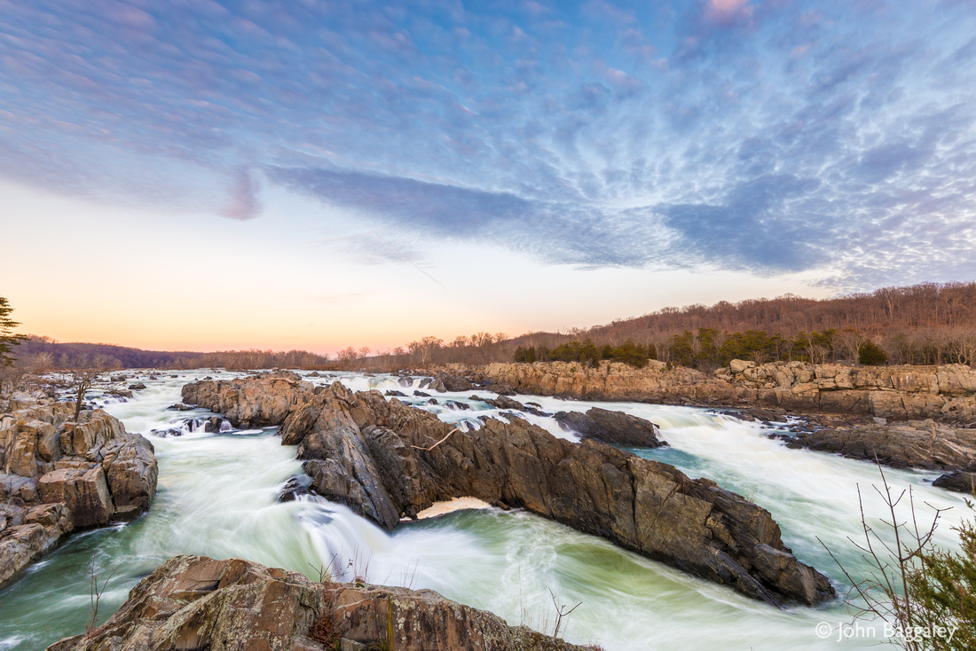 Winter sunset at Great Falls, waterfall on the Potomac, in Virginia.