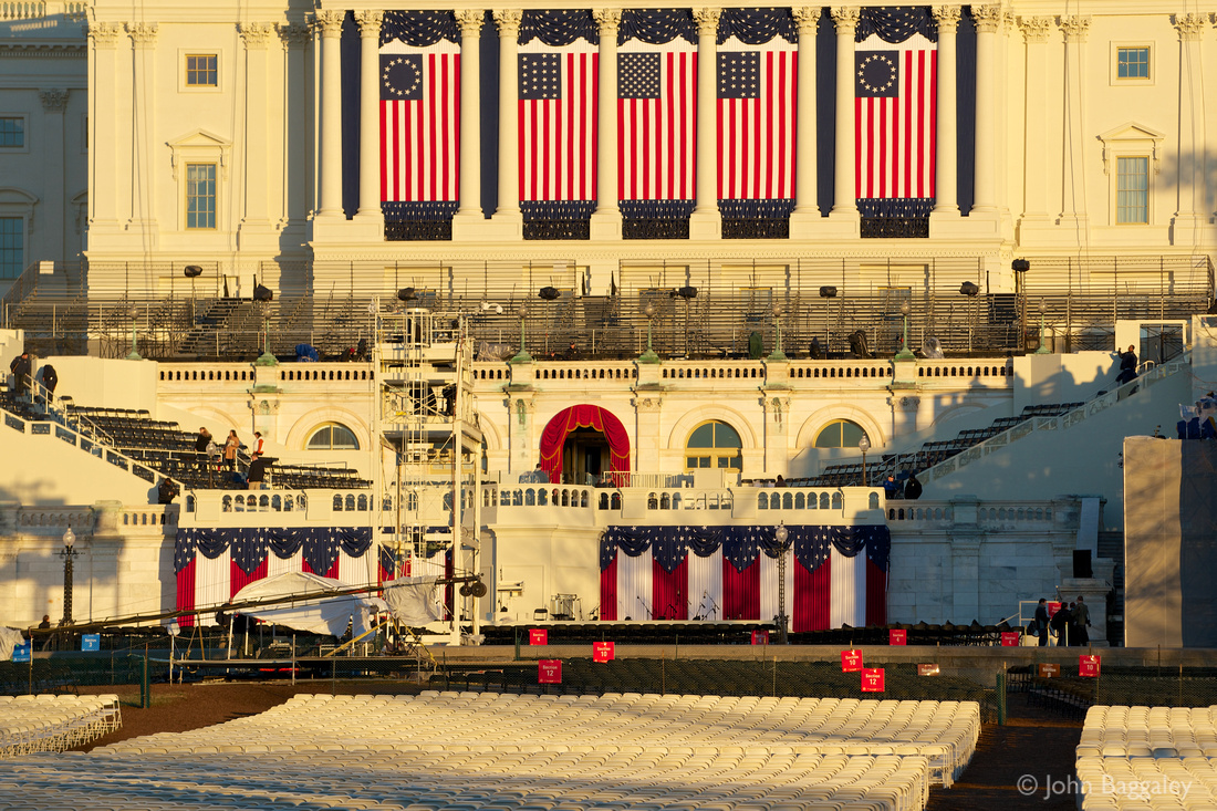 Sunset on the inaugural stage at the Capitol where President Obama will be sworn in for a second term as President of the United States