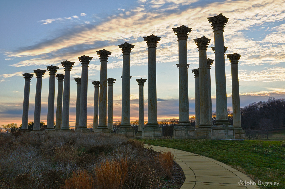 The Capitol Columns in the National Arboretum, Washington, DC, at sunset.