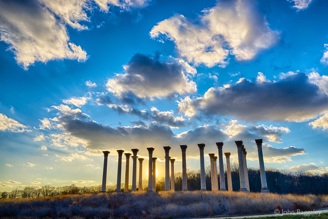 Sunset on the Capitol Columns at the National Arboretum in Washington, DC.