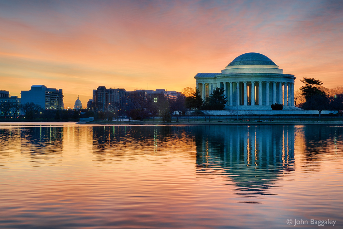 Dawn at the Tidal Basin, featuring the Jefferson Memorial and the Capitol.
