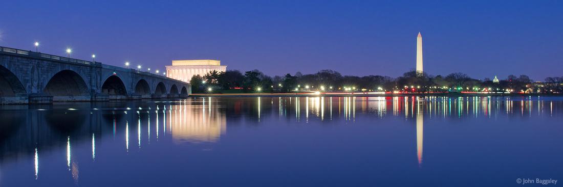 Washington skyline at night along the Potomac