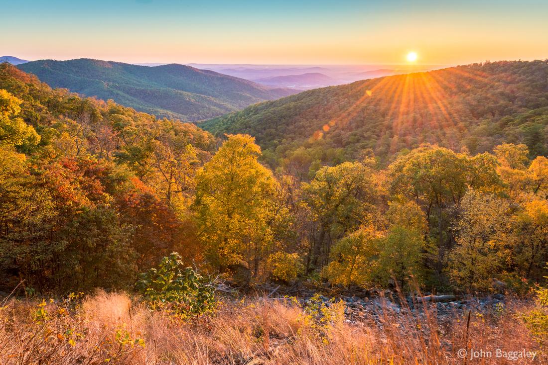 Clear Sky Autumn Sunrise in Shenandoah