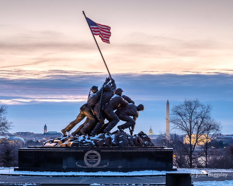 Snow at the Marine Corps War Memorial