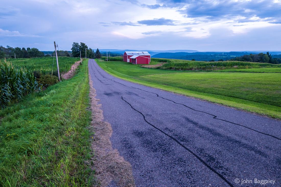 Red Barn and Road at Dusk