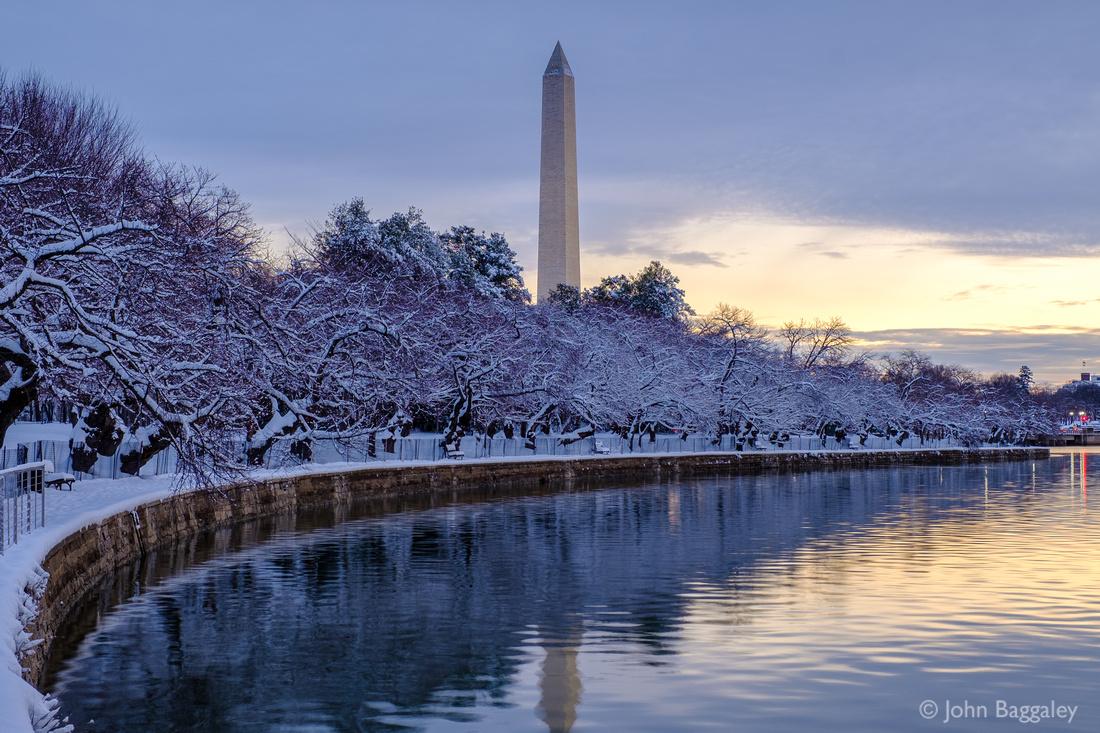 Washington Monument and Snowy Tidal Basin