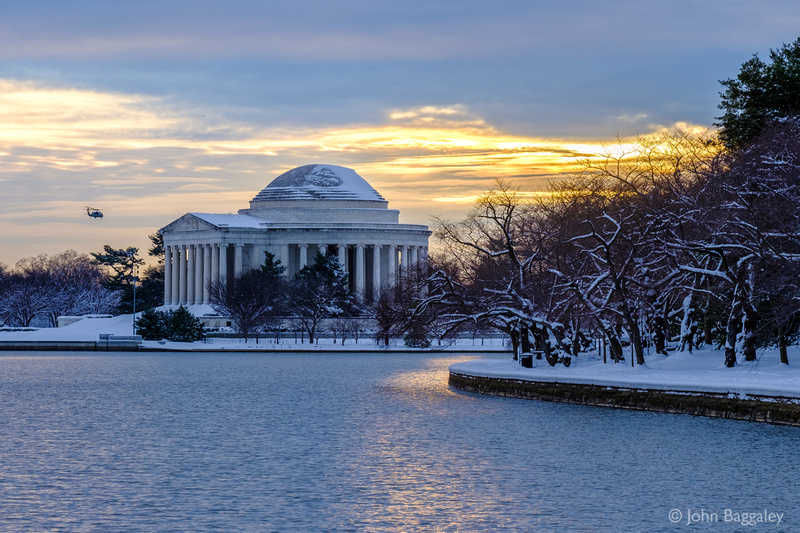 Winter Flyby at the Thomas Jefferson Memorial