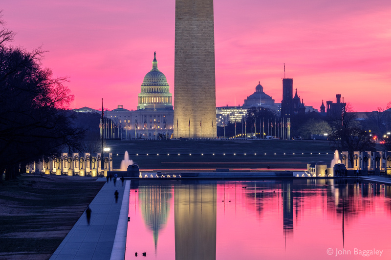 First Light at the Capitol and Washington Monument