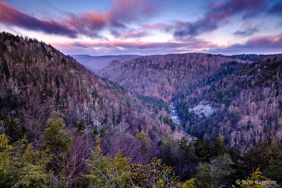 Snowless Winter Dawn in West Virginia