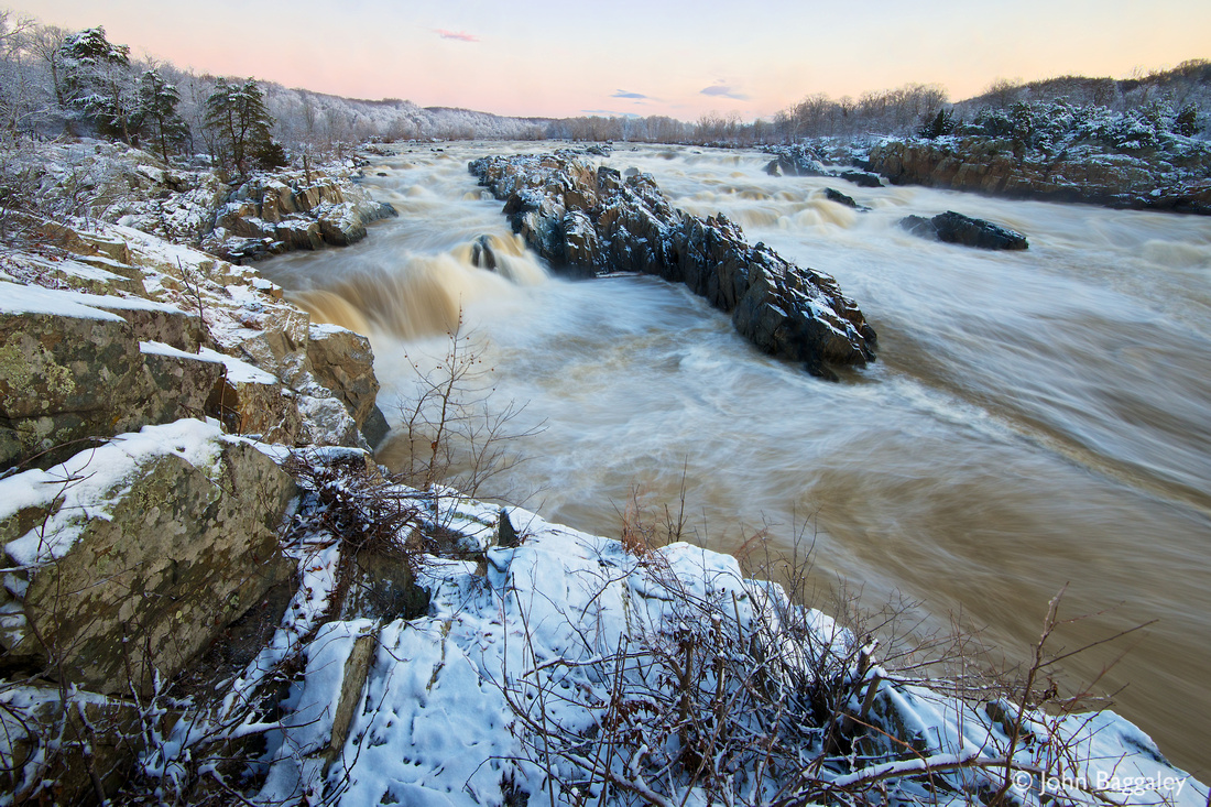 Twilight at a snowy Great Falls