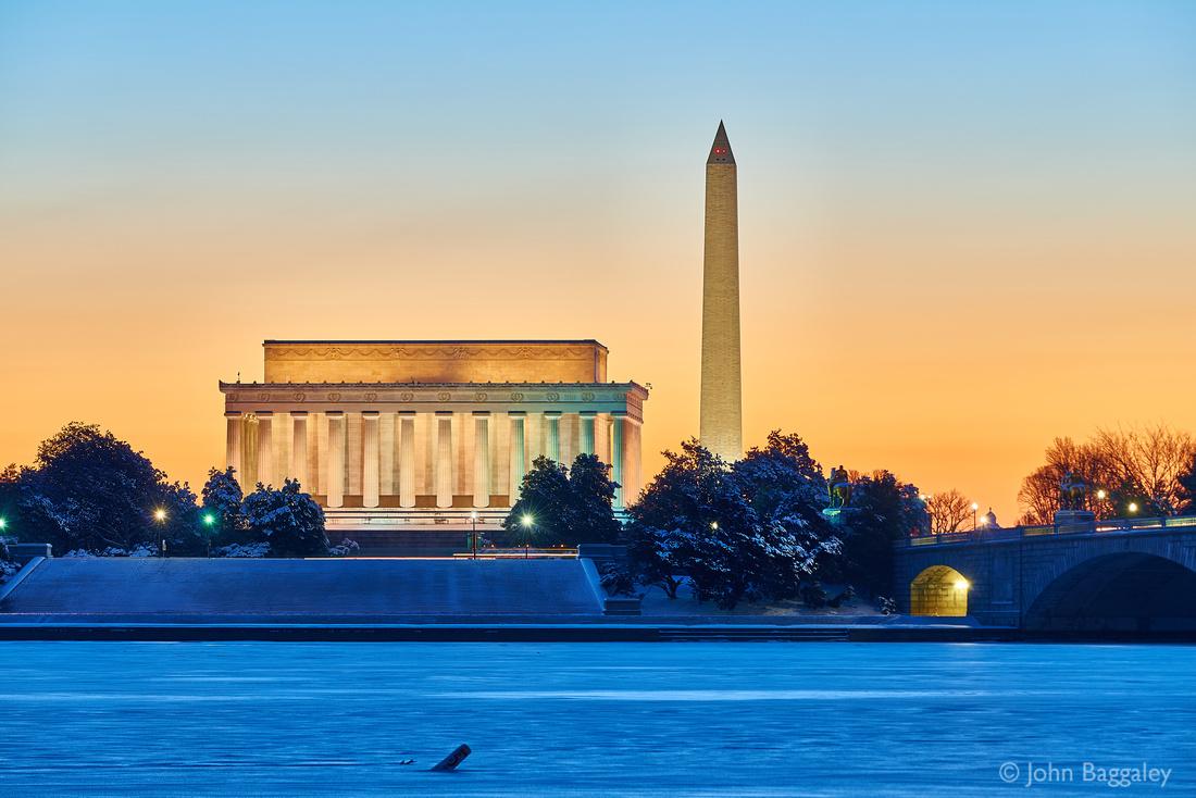 Dawn, Lincoln, Washington, and Snow